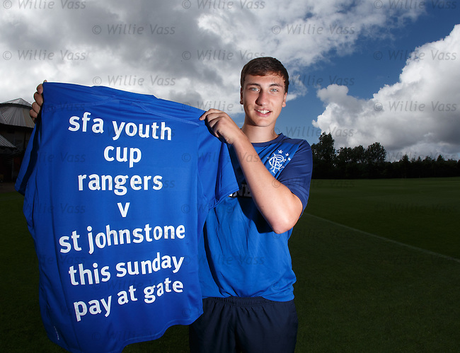 Luca Gasparotto promotes the Rangers v St Johnstone youth cup match on Sunday at Ibrox