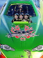 Sept. 5, 2010; Clermont, IN, USA; NHRA top alcohol funny car driver Cassie Simonton during qualifying for the U.S. Nationals at O'Reilly Raceway Park at Indianapolis. Mandatory Credit: Mark J. Rebilas-
