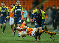 Blackpool's Ian Black clashes with Stevenage's Luke Wilkinson<br /> <br /> Photographer Alex Dodd/CameraSport<br /> <br /> The EFL Sky Bet League Two - Blackpool v Stevenage - Tuesday 14th March 2017 - Bloomfield Road - Blackpool<br /> <br /> World Copyright &copy; 2017 CameraSport. All rights reserved. 43 Linden Ave. Countesthorpe. Leicester. England. LE8 5PG - Tel: +44 (0) 116 277 4147 - admin@camerasport.com - www.camerasport.com