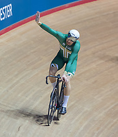 26th January 2020; National Cycling Centre, Manchester, Lancashire, England; HSBC British Cycling Track Championships;  Men's keirin final, Joseph Truman acknowledges the crowd