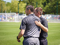 Kansas City, MO - Saturday May 13, 2017: Vlatko Andonovski, Mark Parsons during a regular season National Women's Soccer League (NWSL) match between FC Kansas City and the Portland Thorns FC at Children's Mercy Victory Field.