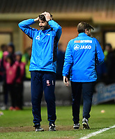 Lincoln City manager Danny Cowley reacts after a decision went against his team<br /> <br /> Photographer Chris Vaughan/CameraSport<br /> <br /> Vanarama National League - Lincoln City v Chester - Tuesday 11th April 2017 - Sincil Bank - Lincoln<br /> <br /> World Copyright &copy; 2017 CameraSport. All rights reserved. 43 Linden Ave. Countesthorpe. Leicester. England. LE8 5PG - Tel: +44 (0) 116 277 4147 - admin@camerasport.com - www.camerasport.com