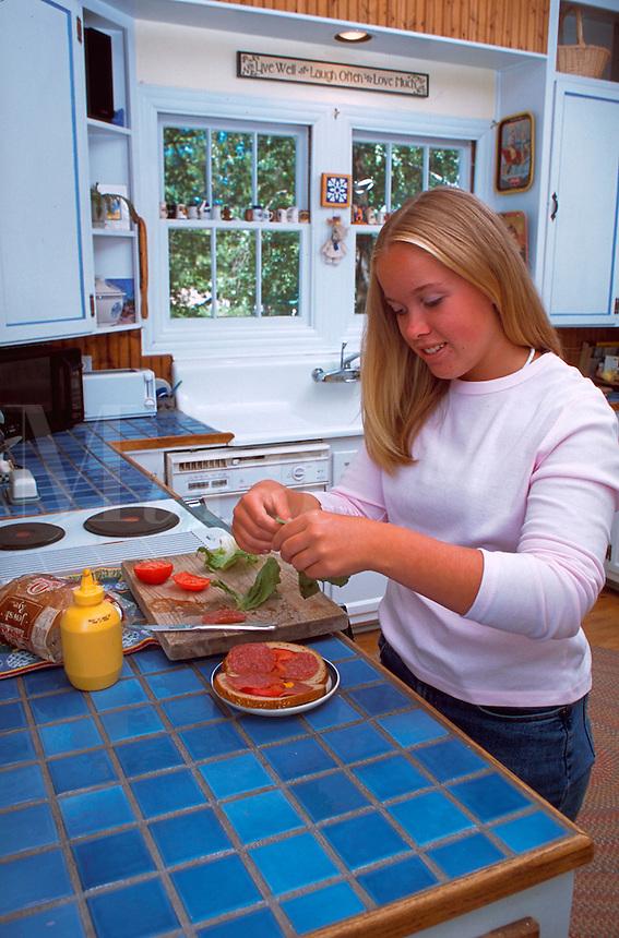 Girl making sandwich