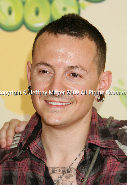 WESTWOOD, CA. - March 28: Musician Chester Bennington of Linkin Park arrives at Nickelodeon's 2009 Kids' Choice Awards at UCLA's Pauley Pavilion on March 28, 2009 in Westwood, California.