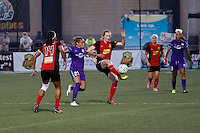Rochester, NY - Saturday June 11, 2016: Western New York Flash midfielder Samantha Mewis (5), Western New York Flash forward Jessica McDonald (14), Orlando Pride defender Monica Hickman Alves (21) during a regular season National Women's Soccer League (NWSL) match between the Western New York Flash and the Orlando Pride at Rochester Rhinos Stadium.