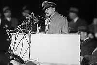 Gen. Douglas MacArthur addressing an audience of 50,000 at Soldier's Field, Chicago, on his first visit to the United States in 14 years, April 1951.  Acme. (USIA)<br /> Exact Date Shot Unknown<br /> NARA FILE #:  306-PS-51-6988<br /> WAR & CONFLICT BOOK #:  1377