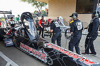 Jul 10, 2016; Joliet, IL, USA; Fox Sports television cameraman films NHRA top fuel driver Leah Pritchett (near) alongside teammate Antron Brown during the Route 66 Nationals at Route 66 Raceway. Mandatory Credit: Mark J. Rebilas-USA TODAY Sports