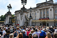 Crowd outside Buckingham Palace at Trooping the Colour<br /> Celebration marking The Queen's official birthday, Trooping The Colour, The Queen's official birthday, Buckingham Palace, London, England UK on June 09, 2018.<br /> CAP/JOR<br /> &copy;JOR/Capital Pictures