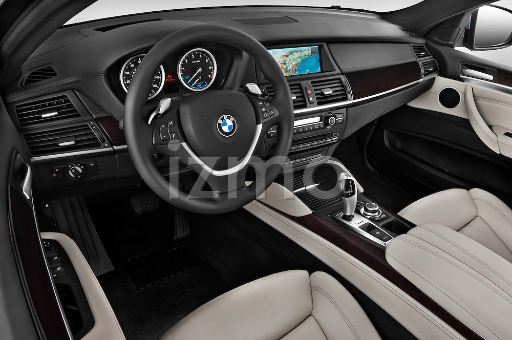 High angle dashboard view of a 2010 BMW Active Hybrid X6
