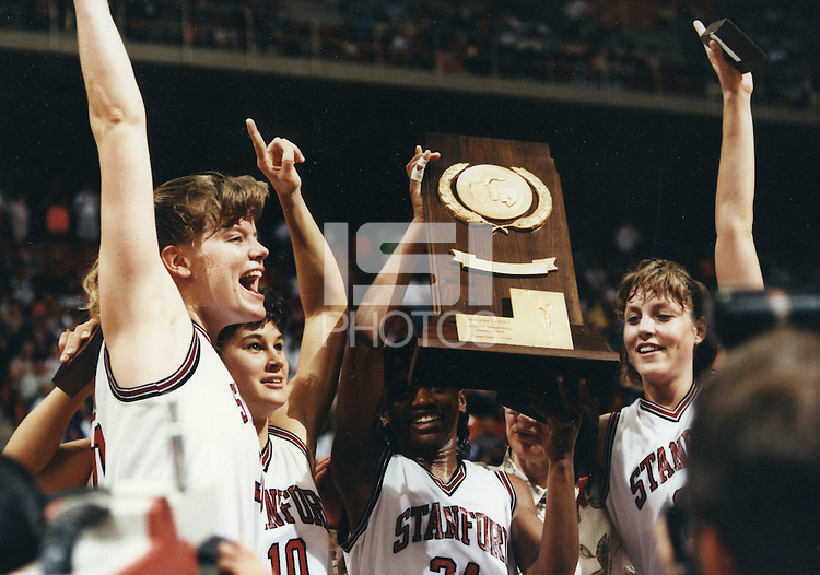 4 April1990: Jennifer Azzi, Trisha Stevens, Sonya Henning, Katy Steding celebrate winning the NCAA Division 1 Women's Basketball Championship in Knoxville, TN.