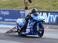 Jul. 18, 2014; Morrison, CO, USA; NHRA pro stock motorcycle rider Jim Underdahl during qualifying for the Mile High Nationals at Bandimere Speedway. Mandatory Credit: Mark J. Rebilas-