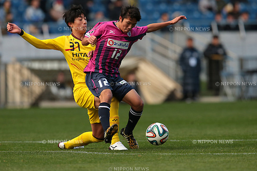 (L to R) <br /> Taiyo Koga (Reysol), <br /> Kazuya Takada (Cerezo), <br /> December 14, 2014 - Football /Soccer : <br /> Prince Takamado Trophy U-18 Football League 2014 Championship <br /> between Kashiwa Reysol U-18 0-1 Cerezo Osaka U-18 <br /> at Saitama Stadium 2002, Saitama, Japan. <br /> (Photo by AFLO SPORT) [1205]