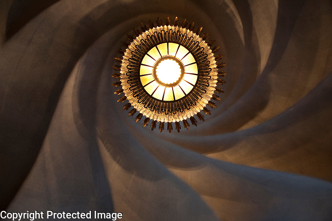 Ceiling Light in Batllo House by Gaudi in Barcelona, Catalonia, Spain