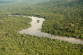 Novo Progresso, Para State, Brazil. Flight to Aldeia Bau. Aerial overview of the Curua River and rainforest.