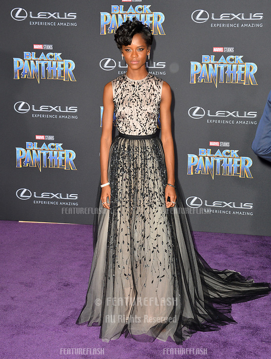 Letitia Wright at the world premiere for &quot;Black Panther&quot; at the Dolby Theatre, Hollywood, USA 29 Jan. 2018<br /> Picture: Paul Smith/Featureflash/SilverHub 0208 004 5359 sales@silverhubmedia.com
