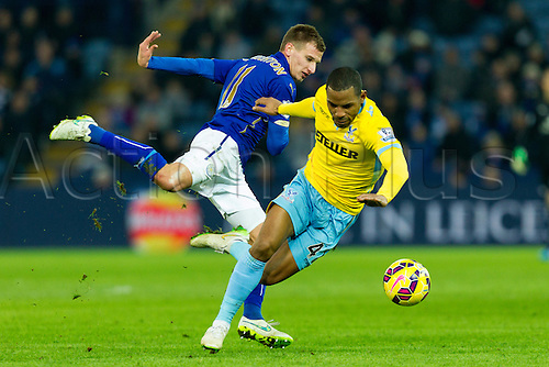 07.02.2015.  Leicester, England. Barclays Premier League. Leicester City versus Crystal Palace. Marc Albrighton of Leicester City and Jason Puncheon (Crystal Palace) compete for the ball.