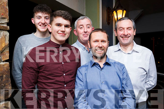 Tom O'Donoghue, David Kelly, Paul McMahon, Butch Fealy and Pat Dowling of Lee Strand at their Xmas party in the Rose Hotel.
