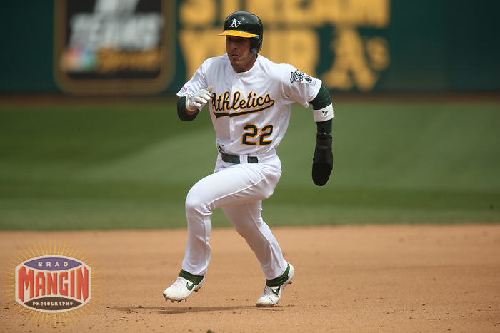 OAKLAND, CA - APRIL 4:  Ramon Laureano #22 of the Oakland Athletics runs the bases against the Boston Red Sox during the game at the Oakland Coliseum on Thursday, April 4, 2019 in Oakland, California. (Photo by Brad Mangin)