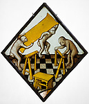 Stained glass with Three Apes Building a Trestle Table, 1480