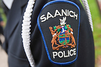 Saanich Police badge is seen during a police memorial parade in Ottawa Sunday September 26, 2010.