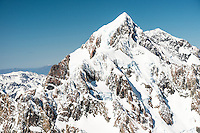 East face of Aoraki, Mount Cook 3,724m, highest NZ mountain, Westland Tai Poutini National Park, West Coast, UNESCO World Heritage Area, New Zealand, NZ