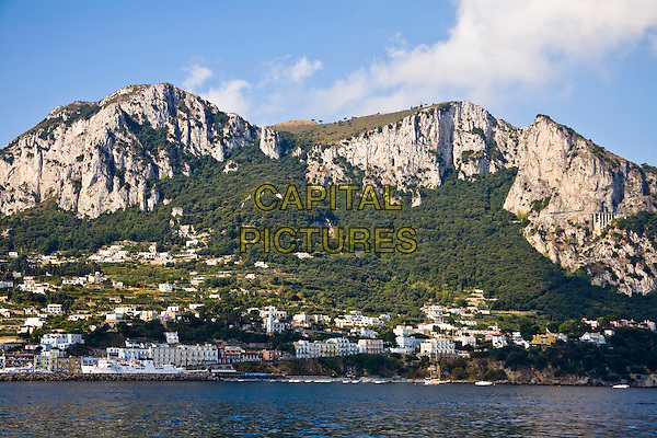 View of the island of Capri from the sea, Capri, Italy