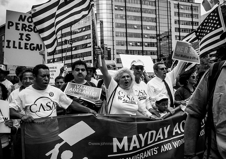 Thousands of demonstrators march down Constitution Avenue toward the White House  during a May Day rally in Washington, DC, USA 01 May 2017. Labor Day or May Day is observed all over the world on the first day of the May to celebrate the economic and social achievements of workers and fight for laborers rights.