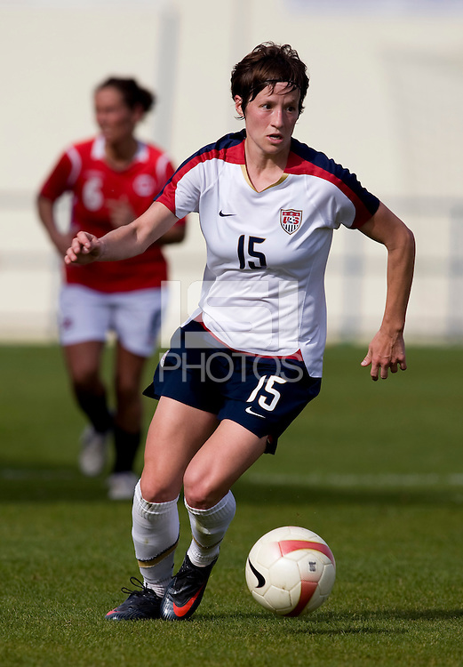 USWNT forward (15) Megan Rapinoe sprints upfield during the last group stage game in the Algarve Cup.  The USWNT defeated Norway, 1-0, in Ferreiras, Portugal. Photo by Brad Smith/ isiphotos.com