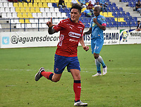 MONTERÍA - COLOMBIA ,20-10-2018: Germán Cano  jugador del Independiente Medellín celebra  su gol contra Jaguares de Córdoba durante partido por la fecha 16 de la Liga Águila II 2018 jugado en el estadio Municipal Jaraguay de Montería . / German Cano player of Independiente Medellin celebrates his goal agaisnt of   Jaguares of Cordoba  during the match for the date 16 of the Liga Aguila II 2018 played at Municip al Jaraguay Satdium in Monteria City . Photo: VizzorImage /Andrés Felipe López  / Contribuidor.