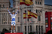 Polka Dot Jersey / KOM winner Geoffrey Bouchard (FRA/AG2R La Mondiale) celebrates his jersey win on the final podium in Madrid<br /> <br /> Stage 21: Fuenlabrada to Madrid (107km)<br /> La Vuelta 2019<br /> <br /> ©kramon