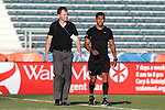 01 June 2016: Match Commissioner Jude Carr (left) and fourth official Gustavo Solario (right). The Carolina RailHawks hosted the Charlotte Independence at WakeMed Stadium in Cary, North Carolina in a 2016 Lamar Hunt U.S. Open Cup third round game. The RailHawks won 5-0 after extra time after regulation ended in a 0-0 tie.