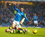 4.3.2018: Rangers v Falkirk Scottish Cup QF<br /> Keeper Robbie Thomson gets to the ball a spit second before Jason Holt