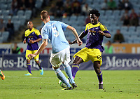 Thursday 08 August 2013<br /> Pictured: Wilfried Bony of Swansea (R) passes the ball past Pontus Jansson (L) of Malmo<br /> Re: Malmo FF v Swansea City FC, UEFA Europa League 3rd Qualifying Round, Second Leg, at the Swedbank Stadium, Malmo, Sweden.