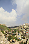 Israel, Jerusalem, the City of David National Park at the neighborhood of Silwan, Temple Mount and Mount of Olives are in the background