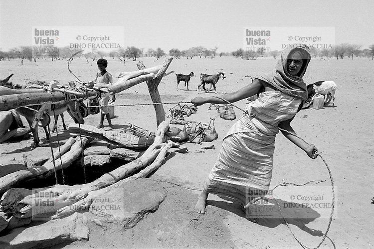 - Northern Sudan, nomadic women at a well in the Libyan Desert....- Sudan settentrionale, donne nomadi ad un pozzo nel Deserto Libico..