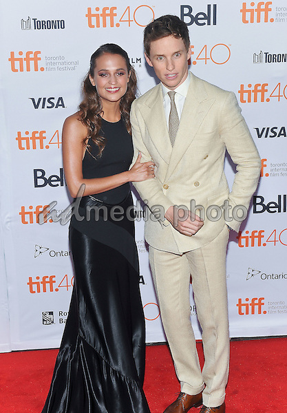 "12 September 2015 - Toronto, Ontario, Canada - Alicia Vikander, Eddie Redmayne. ""The Danish Girl"" Premiere during the 2015 Toronto International Film Festival held at  Princess of Wales Theatre. Photo Credit: Brent Perniac/AdMedia"