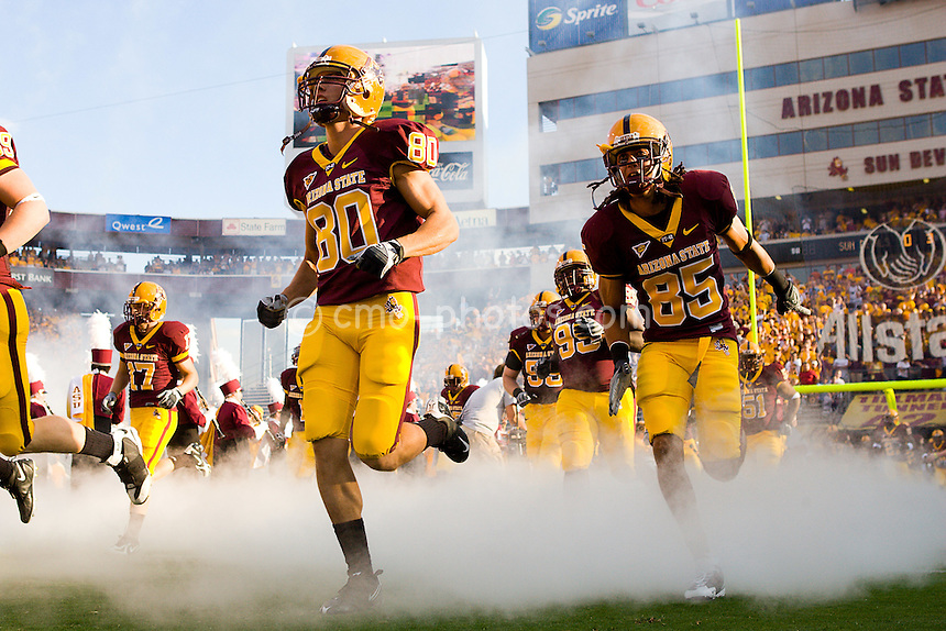 Sept 20, 2008; Tempe, AZ, USA; The Arizona State Sun Devils enter the field at the start of a game against the Georgia Bulldogs at Sun Devil Stadium.