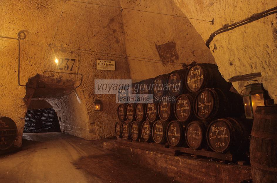 Europe/France/Champagne-Ardenne/51/Marne/Reims: Caves Veuve Cliquot - Vieux tonneaux de crus pour assemblage du Champagne - Maison de Champagne Veuve Clocquot Ponsardin