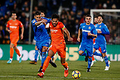 12th January 2018, Estadio Coliseum Alfonso Perez, Getafe, Spain; La Liga football, Getafe versus Malaga; Jose Luis Garcia RECIO (Malaga CF) fights for control of the ball with Fayçal Fajr (Get)