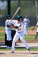 Oakland Athletics outfielder Eli White (35) at bat during an Instructional League game against the Cincinnati Reds on September 29, 2017 at Lew Wolff Training Complex in Mesa, Arizona. (Zachary Lucy/Four Seam Images)