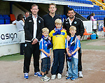St Johnstone v Bristol City....28.07.12  Pre-Season Friendly.Frazer Wright and Callum Davidson with a family.Picture by Graeme Hart..Copyright Perthshire Picture Agency.Tel: 01738 623350  Mobile: 07990 594431