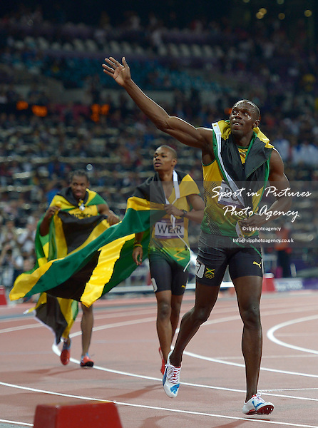Jamaica's Usain Bolt celebrates. Athletics - PHOTO: Mandatory by-line: Garry Bowden/SIP/Pinnacle - Photo Agency UK Tel: +44(0)1363 881025 - Mobile:0797 1270 681 - VAT Reg No: 768 6958 48 - 08/08/2012 - 2012 Olympics - Olympic Stadium, Olympic Park, London, England.