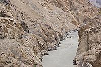The narrow winding Skardu road above the Baltoro River in Baltistan in Pakistan