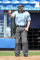 Umpire Chris Tipton makes a call during a game between the St. Lucie Mets and Jupiter Hammerheads at Digital Domain Park on May 2, 2012 in Port St. Lucie, Florida.  St. Lucie defeated Jupiter 3-2.  (Mike Janes/Four Seam Images)