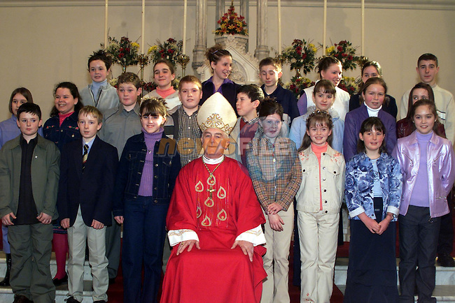 Pupils from Termonfeckin school pictured with Bishop Clifford at their confirmation at Termonfeckin church..pic: Newsfile