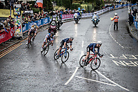 Quinn Simmons (USA) leading the breakaway & on his way to become the 2019 Junior World Champion<br /> <br /> Junior Men road race<br /> from Richmond to Harrogate (148km)<br /> 2019 Road World Championships Yorkshire (GBR)<br /> <br /> ©kramon