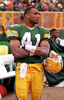 Green Bay Packers safety Eugene Robinson on the sidelines after intercepting a pass in the December 1, 1996 game against the Chicago Bears. The Pack won the game, 28-17.