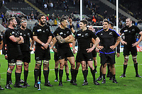 New Zealand players look on after the match. Rugby World Cup Pool C match between New Zealand and Tonga on October 9, 2015 at St James' Park in Newcastle, England. Photo by: Patrick Khachfe / Onside Images