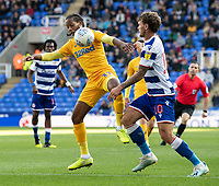 Preston North End's Daniel Johnson (left) battles with Reading's John Swift (right) <br /> <br /> Photographer David Horton/CameraSport<br /> <br /> The EFL Sky Bet Championship - Reading v Preston North End - Saturday 19th October 2019 - Madejski Stadium - Reading<br /> <br /> World Copyright © 2019 CameraSport. All rights reserved. 43 Linden Ave. Countesthorpe. Leicester. England. LE8 5PG - Tel: +44 (0) 116 277 4147 - admin@camerasport.com - www.camerasport.com