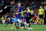 Andres Iniesta Lujan (r) of FC Barcelona fights for the ball with Juan Pablo Anor Acosta, Juanpi (l), of Malaga CF during the La Liga 2017-18 match between FC Barcelona and Malaga CF at Camp Nou on 21 October 2017 in Barcelona, Spain. Photo by Vicens Gimenez / Power Sport Images